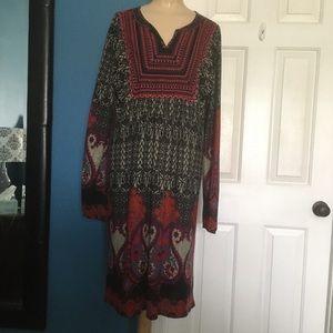 Sahalie womens 1X embroidered sweater dress